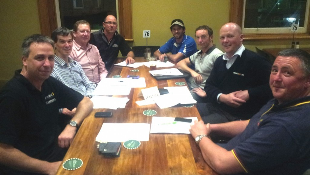 Planning meeting 24 September 2013. left to right: Peter Durovic, Jack Gilding, Rob Manson, Ben Steven, Nick Walker, Rick Gittus, Rohan Windsor, Peter Collins.
